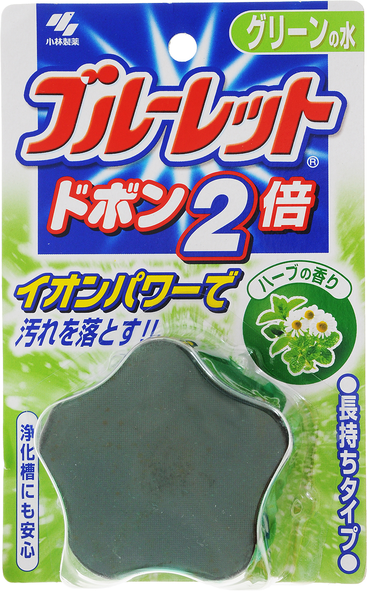 Таблетка чистящая для унитаза Kobayashi Bluelet Dobon W. Bluelet. Травы, 120 г07113kbЧистящая таблетка Kobayashi Bluelet Dobon W. Bluelet. Травы без особых хлопот обеспечит гигиеническую чистоту и свежесть вашего туалета в течение длительного времени. Таблетка окрашивает воду в зеленый цвет, эффективно очищает унитаз при каждом сливе воды, за счет ионных поверхностно-активных веществ. Наполняет туалетную комнату легким ароматом трав. Предотвращает образование известкового налета. Уничтожает бактерии даже в труднодоступных местах.Способ применения: достаньте таблетку из упаковки и, не снимая защитной пленки, поместите таблетку в бачок унитаза (защитная пленка растворяется в воде). Расположите таблетку с противоположной стороны от наливного устройства и проверьте, чтобы таблетка не блокировала сливное отверстие. Для закрепления таблетки на дне бачка после ее установки не смывайте воду в течение 3 минут. Если таблетка не закрепилась, то есть опасность блокировки сливного отверстия. Смените таблетку, когда вода станет бесцветной.Срок действия около 1,5-2 месяца в зависимости от частоты использования.Состав: отдушка, краситель, ПАВ (неионогенные, анионные).Товар сертифицирован.