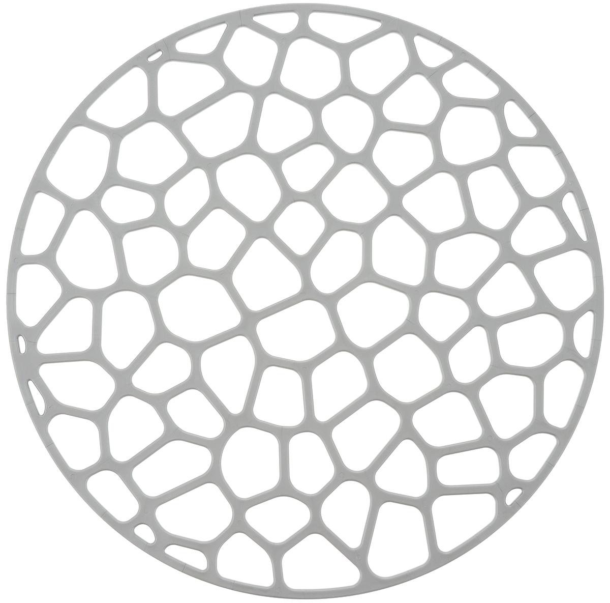 """Коврик для раковины """"Idea"""", изготовленный из полипропилена, одновременно выполняет несколько функций: - украшает, предотвращает появление на раковине царапин и сколов;- защищает посуду от повреждений при падении в раковину;-  удерживает мусор, попадание которого в слив приводит к засорам. Коврик также обладает противоскользящим эффектом и может использоваться в качестве подставки для сушки чистой посуды. Легко очищается от грязи и жира.Диаметр: 30 см."""