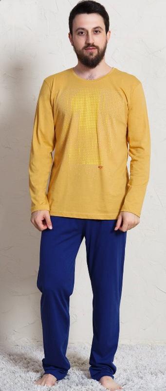 Домашний комплект мужской Vienettas Secret Первый: брюки, кофта, цвет: желтый. 703003 0000. Размер M (46)703003 0000
