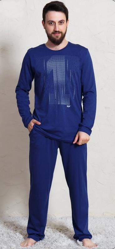Домашний комплект мужской Vienetta's Secret Первый: брюки, кофта, цвет: темно-синий. 703003 0000. Размер XL (50) брюки для дома мужские diesel цвет синий 00sj3i 0damk 05 размер xl 50