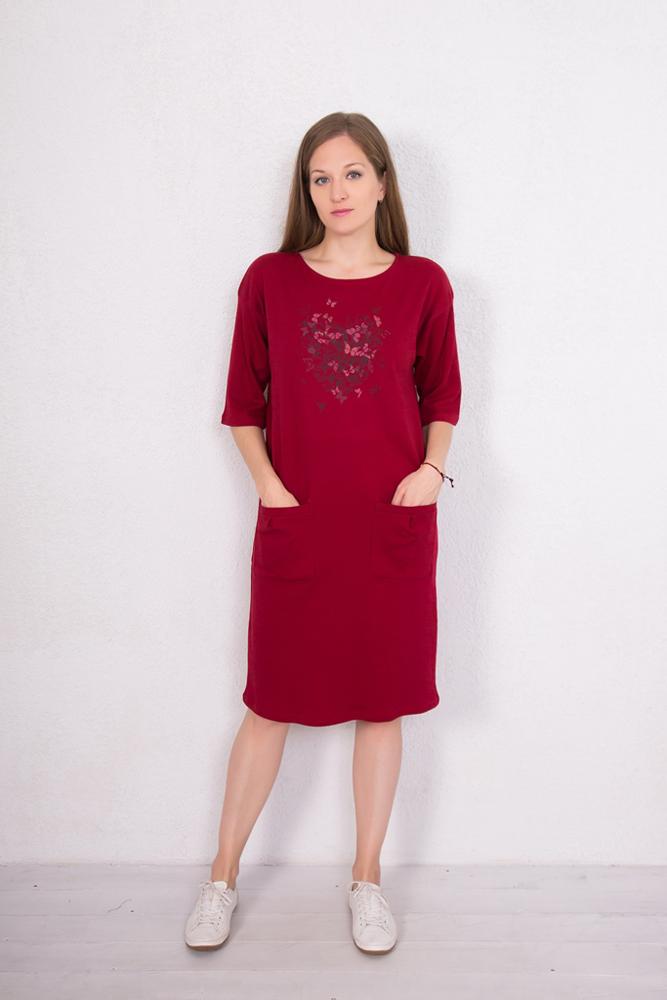 Платье домашнее Marusя Сердце, цвет: бордовый. 160104. Размер XL (50)160104Домашнее платье от Marusя выполнено из натурального хлопкового трикотажа. Платье прямого кроя с круглым вырезом горловины и рукавами до локтя дополнено накладными карманами.