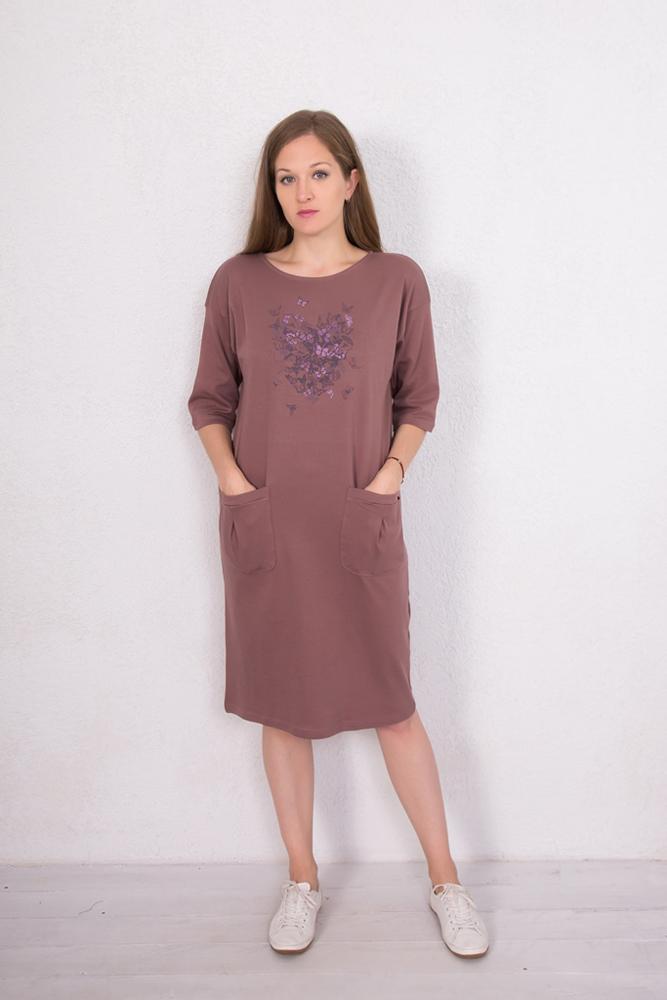 Платье домашнее женское Marusя Сердце, цвет: какао. 160104. Размер M (46)160104