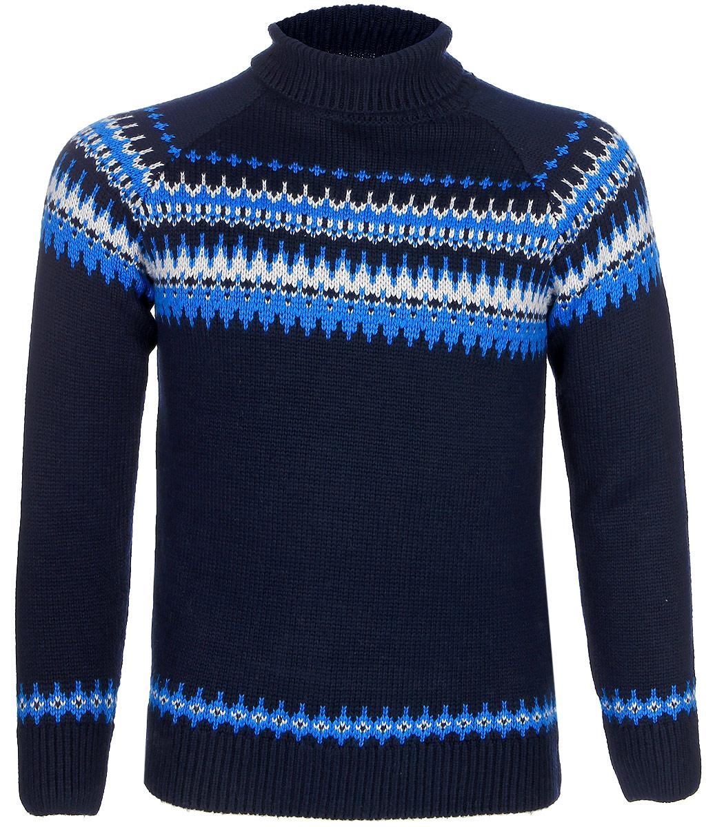 Свитер для мальчика Sela, цвет: темно-синий. SW-814/020-7413. Размер 140, 10 летSW-814/020-7413