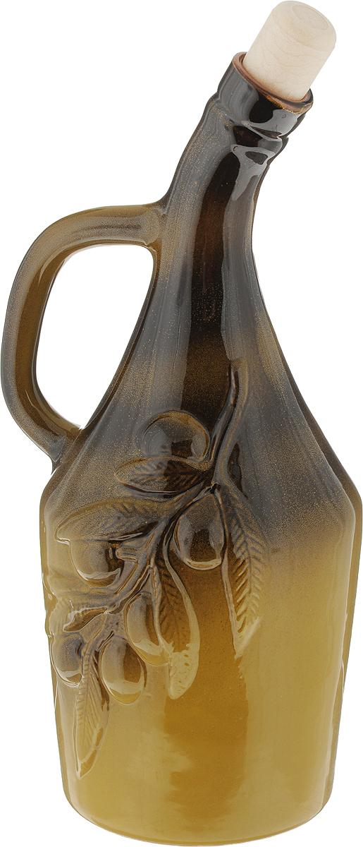Емкость для масла Борисовская керамика Оливки, цвет: коричневый, оливковый, 900 млОБЧ14456962_коричневыйЕмкость Борисовская керамика Оливки, изготовленная из глазурованной керамики, выполнена в виде кувшина и предназначена для хранения масла. Изделие снабжено ручкой. Сверху закрывается удобной пробкой, предотвращающей случайное выливание.Стенки емкости светонепроницаемые, поэтому ее можно хранить в открытом шкафу, не волнуясь, что масло потеряет вкус и аромат.Высота бутылки (без учета пробки): 24,5 см.Диаметр основания: 8,7 см. Диаметр горлышка: 2,2 см.