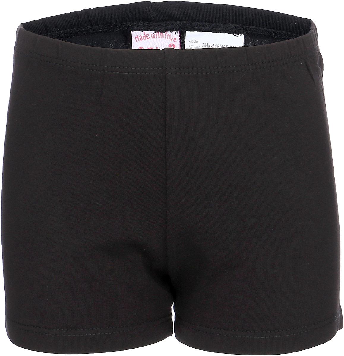 Шорты для девочки Sela, цвет: черный. SHk-515/405-7331. Размер 98, 3 годаSHk-515/405-7331Трикотажные шорты для девочки от Sela выполнены из эластичного хлопка. Модель на талии дополнена эластичной резинкой.
