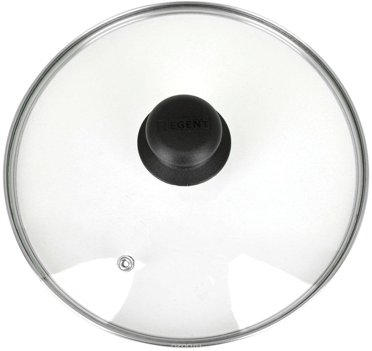 """Крышка """"Regent Inox"""" изготовлена из термостойкого стекла. Обод, выполненный из высококачественной нержавеющей стали, защищает крышку от повреждений, а ручка, выполненная из термостойкого пластика, защищает ваши руки от высоких температур. Крышка удобна в использовании, позволяет контролировать процесс приготовления пищи. Имеется отверстие для выпуска пара. Характеристики:  Материал: стекло, нержавеющая сталь, пластик. Диаметр: 22 см. Размер упаковки: 22 см х 22 см х 5 см. Производитель:  Италия. Артикул: 22.1."""
