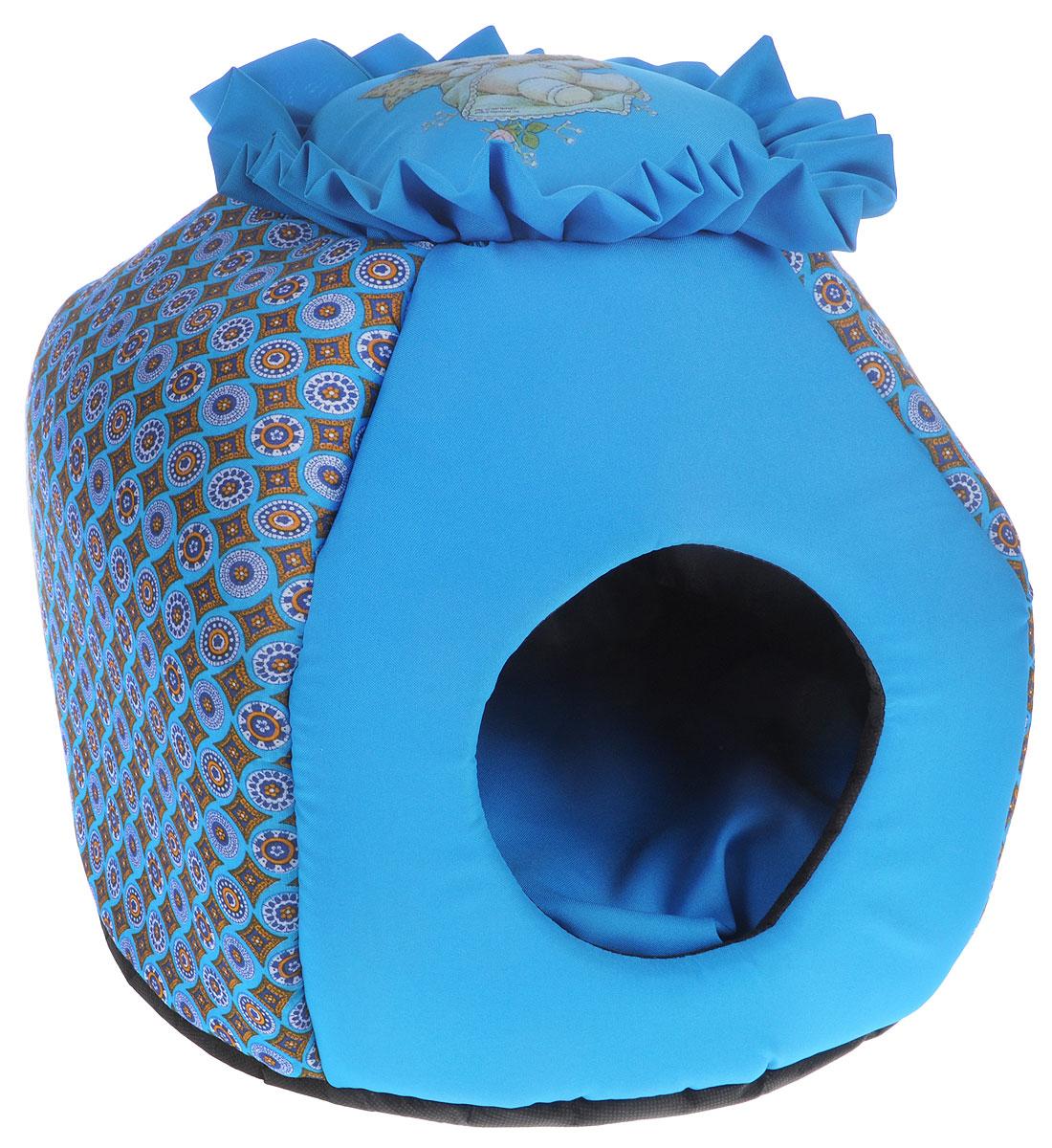 Домик-трансформер для животных GLG Гнездышко, цвет: голубой, 36 х 36 x 46 см