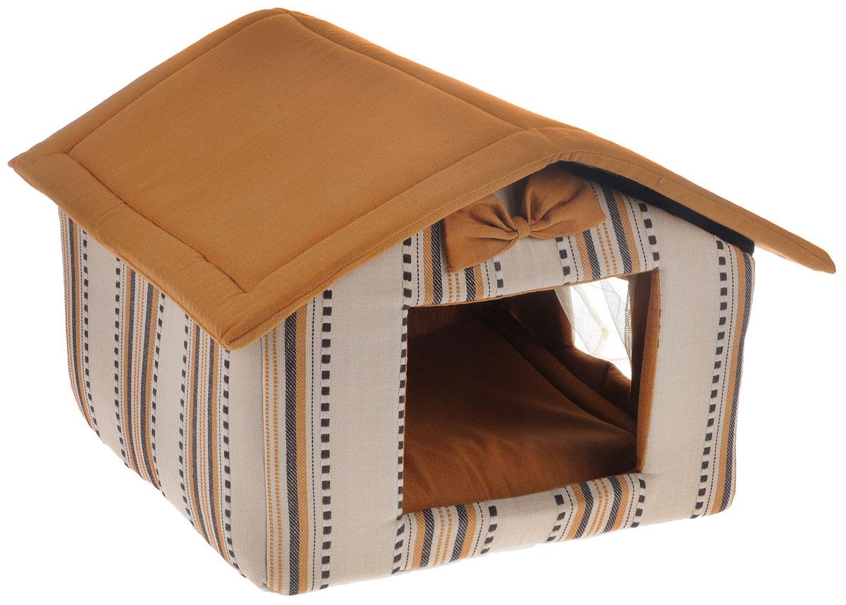 Домик для животных Camon Little House Coffee, 45 x 35 x 35 см10011412Домик для животных Camon Little House Coffee непременно станет любимым местом отдыха вашего домашнего животного. Изделие выполнено из плотной ткани и наполнителя из поролона. Такой материал не теряет своей формы долгое время.Домик с треугольной крышей и окошком с москитной сеткой. Внутри имеется мягкая съемная подстилка.В таком домике вашему любимцу будет мягко и тепло. Он подарит вашему питомцу ощущение уюта и уединенности.Размеры: 45 x 35 x 35 см.