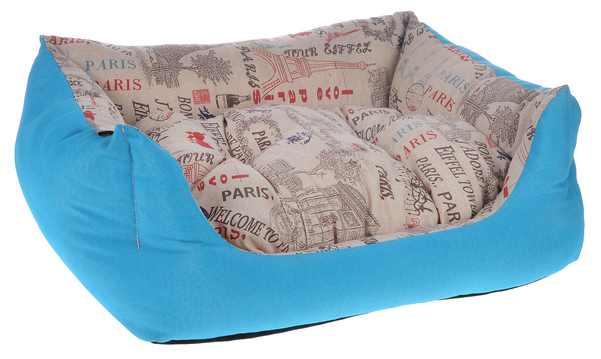 Лежак для животных Fabotex Avantgarde, цвет: бежевый, голубой, 65 x 50 x 20 смCP041/E.2Мягкий лежак Fabotex Avantgarde обязательно понравится вашему питомцу. Лежак оснащен мягкой съемной подушкой. Высокие фигурные бортики обеспечат вашему любимцу уют.Мягкий лежак станет излюбленным местом вашего питомца, подарит ему спокойный и комфортный сон, а также убережет вашу мебель от шерсти. Размеры: 65 х 50 х 20 см.