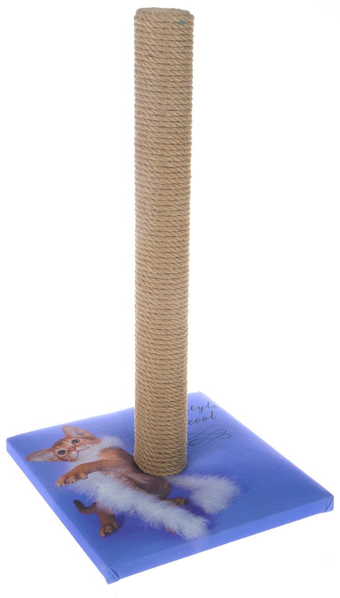Когтеточка Грызлик Ам  Столбик , цвет: сиреневый, бежевый, 31 x 31 x 54 см. 40.GR.050 - Когтеточки и игровые комплексы