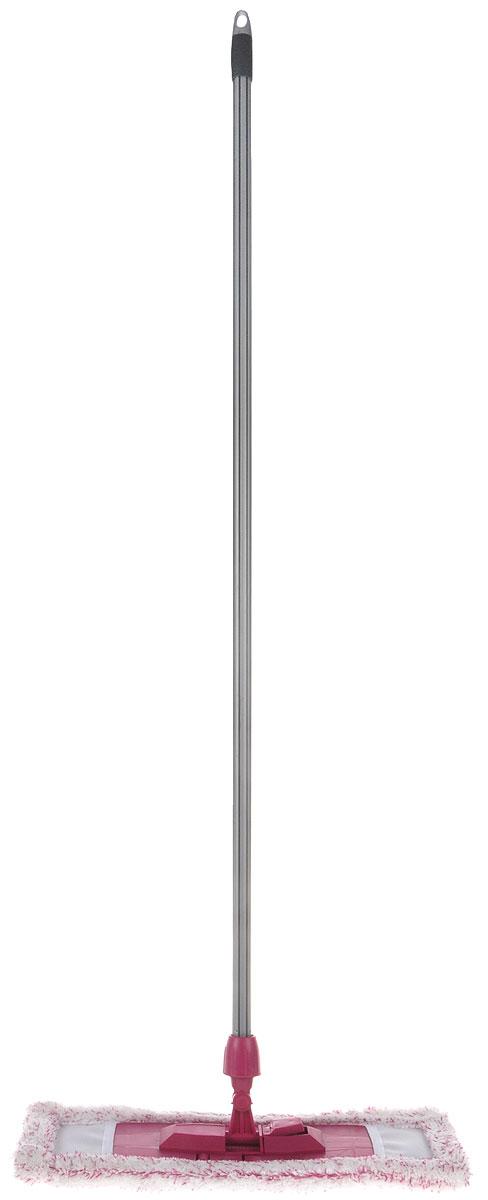 Швабра плоская Эргопак, универсальная, с прорезиненной рукояткой, цвет: малиновый, длина 118 см. 36263626 ERGN_малиновыйУниверсальная плоская швабра Эргопак отлично подходит для мытья всех типов напольных поверхностей: паркет, ламинат, линолеум, кафельная плитка. Материалы насадки - полиэстер и полиакрилонитрил, которые обладают высокой износостойкостью, не царапают поверхности и отлично впитывают влагу. Специальная конструкция поворотного соединения позволяет очищать труднодоступные места. Благодаря складному держателю, можно легко заменить чистящие насадки. Закручивающаяся прорезиненная рукоятка может отсоединяться от насадки. Швабра подходит для влажного и сухого использования. Длина ручки: 118 см.Размер насадки: 45 х 15 см.
