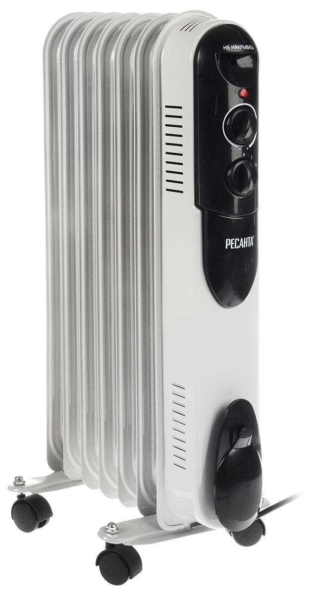 Ресанта ОМПТ-7Н (1,5 кВт) напольный радиатор67/3/3Масляный радиатор Ресанта ОМПТ-7Н - электрический прибор бытового назначения, предназначенный для отопления небольших помещений. Удобные ручки управления обеспечивают простоту и легкость настройки радиатора. Мощности 1500 Вт вполне достаточно, чтобы обогреть помещение площадью до 15 м2. Этот компактный, легкий прибор для удобства перемещения оснащен колесами.