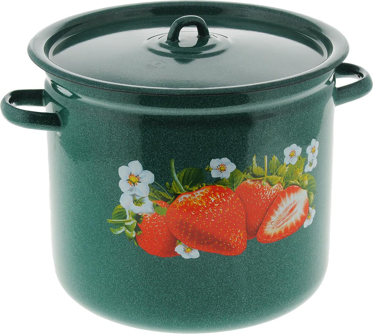 Кастрюля Лысьвенские эмали  Сочная клубника , с крышкой, цвет: зеленый, 12 л - Посуда для приготовления
