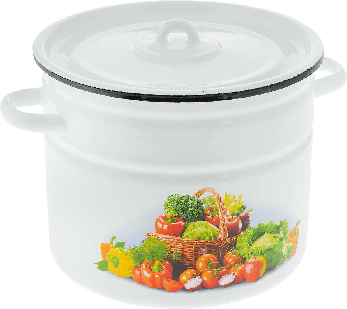 Кастрюля эмалированная СтальЭмаль  Овощи  с крышкой, цвет: белый, 9 л - Посуда для приготовления
