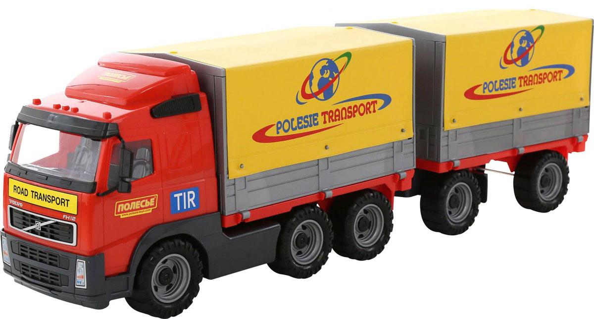 Полесье Грузовик бортовой тентовый Volvo с прицепом 9517 ведро контейнер для мусора лайма classic с педалью цвет серебристый 30 л