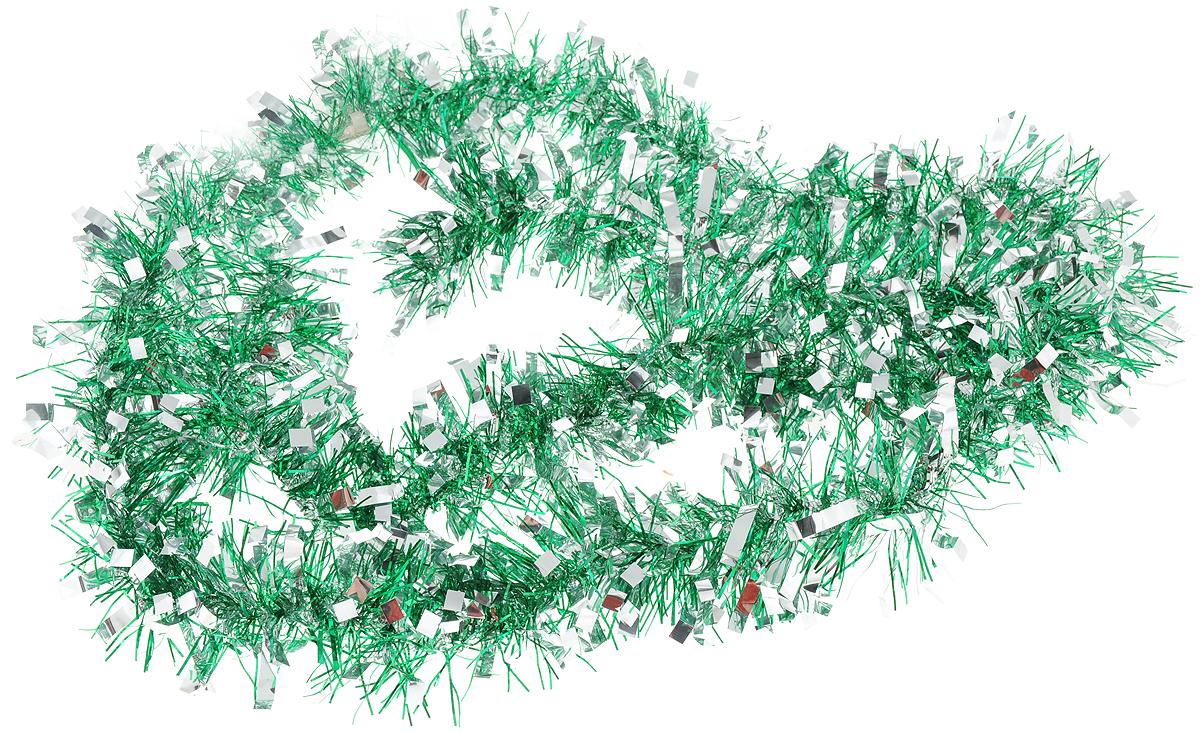 Мишура новогодняя Magic Time, цвет: зеленый, серебристый, 7,5 х 200 см. 7578375783Мишура новогодняя Magic Time, выполненная из ПЭТ (полиэтилентерефталата), поможет вам украсить свой дом к предстоящим праздникам. Мишура армирована, то есть имеет проволоку внутри и способна сохранять приданную ей форму.Новогодняя елка с таким украшением станет еще наряднее.Новогодней мишурой можно украсить все, что угодно - елку, квартиру, дачу, офис - как внутри, так и снаружи. Можно сложить новогодние поздравления, буквы и цифры, мишурой можно украсить и дополнить гирлянды, можно выделить дверные колонны, оплести дверные проемы.Длина мишуры: 200 см.Диаметр: 7,5 см.