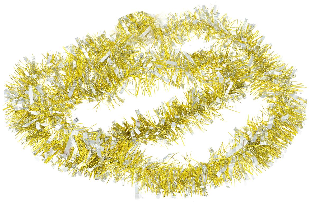 Мишура новогодняя Magic Time, цвет: золотистый, серебристый, 7,5 х 200 см. 7578475784Мишура новогодняя Magic Time, выполненная из ПЭТ (полиэтилентерефталата), поможет вам украсить свой дом к предстоящим праздникам. Мишура армирована, то есть имеет проволоку внутри и способна сохранять приданную ей форму.Новогодняя елка с таким украшением станет еще наряднее.Новогодней мишурой можно украсить все, что угодно - елку, квартиру, дачу, офис - как внутри, так и снаружи. Можно сложить новогодние поздравления, буквы и цифры, мишурой можно украсить и дополнить гирлянды, можно выделить дверные колонны, оплести дверные проемы.Длина мишуры: 200 см.Диаметр: 7,5 см.