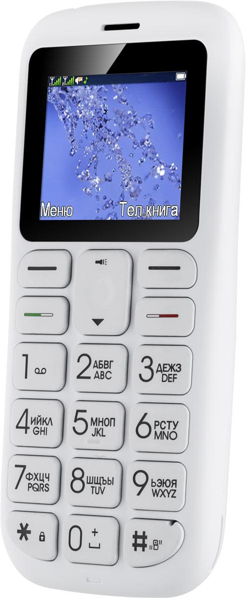 Fly Ezzy 7+, White10214Fly Ezzy 7+ - мобильный телефон для пожилых людей. Именно такой, как и должен быть: с удобными большими кнопками и крупными цифрами, отдельной кнопкой SOS.В настройках телефона для клавиши SOS можно задать номера телефонов (или несколько), на которых будет совершен вызов при её нажатии. Звонок будет осуществляться в заданной последовательности по списку заданных номеров. В случае дозвона до первого абонента, на второй номер звонок осуществляться не будут. Данную функцию можно отключить.На верхнем торце есть светодиодный фонарик. Для его удобного включения на правый бок телефона вынесена отдельная клавиша, которая передвигается в два положения: включить и выключить.На левой стороне есть клавиша для блокировки клавиатуры.Телефон сертифицирован EAC и имеет русифицированную клавиатуру, меню и Руководство пользователя.