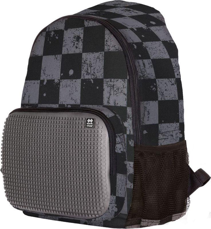 Pixie Crew Рюкзак цвет черный серыйPXB-02-K23Рюкзак Pixie Crew со специальной силиконовой панелью позволяет с помощью входящего в комплект базового набора пикселей создать индивидуальную картинку.Рюкзак содержит одно основное отделение на застежке-молнии. На лицевой стороне изделия располагается накладной карман на молнии, по бокам - два открытых сетчатых кармана. Рюкзак оснащен текстильной ручкой для переноски в руке и лямками регулируемой длины.