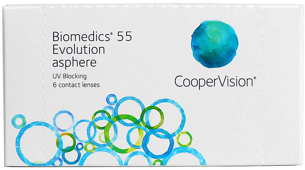 CooperVision Контактные линзы Biomedics 55 Evolution (6 pack)/Радиус кривизны 8,6/Оптическая сила -01,25