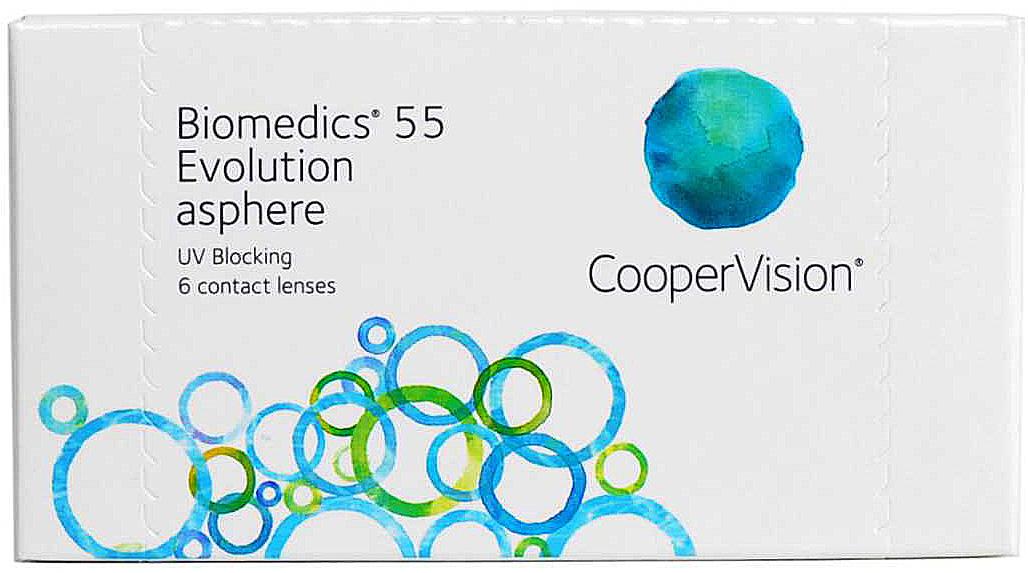 CooperVision Контактные линзы Biomedics 55 Evolution (6 pack)/Радиус кривизны 8,6/Оптическая сила -05,0010090108Biomedics Evolution-гидрогелевые контактные линзы ежемесячной замены. Отличаются специальным оптическим дизайном передней поверхности,чтоприводит к улудшению комфорта и качества зрения. Отличительные особенности линз: -круглый край линзы и запатентованная Система Нейтрализации Аберраций. -уникальная оптика линзы улучшает качество зрения,минимизируя естественные сферические аберрации,присущие глазу -тонкий круглый край линзы улучшает комфорт при ношении.Контактные линзы или очки: советы офтальмологов. Статья OZON Гид