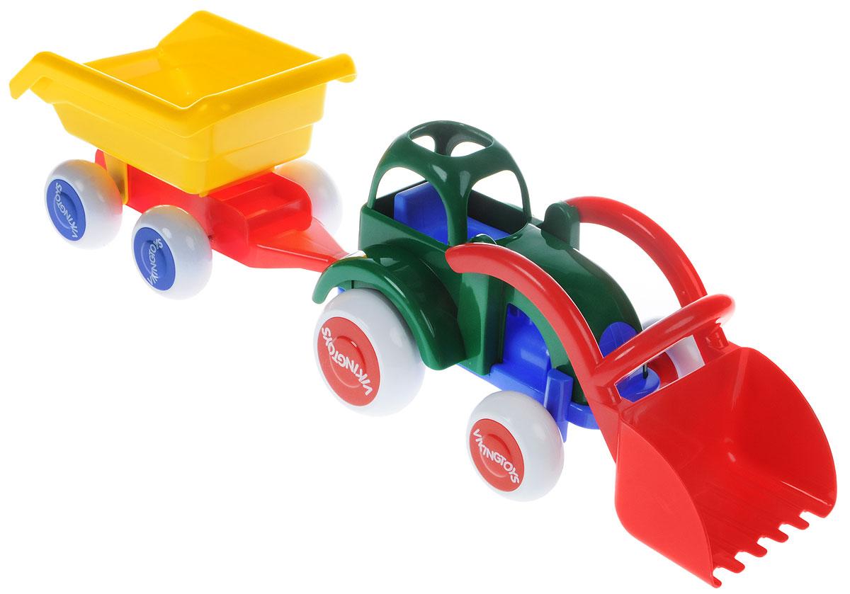 Viking Toys Трактор-экскаватор с прицепом Джамбо экскаватор гусеничный cat с отвалом