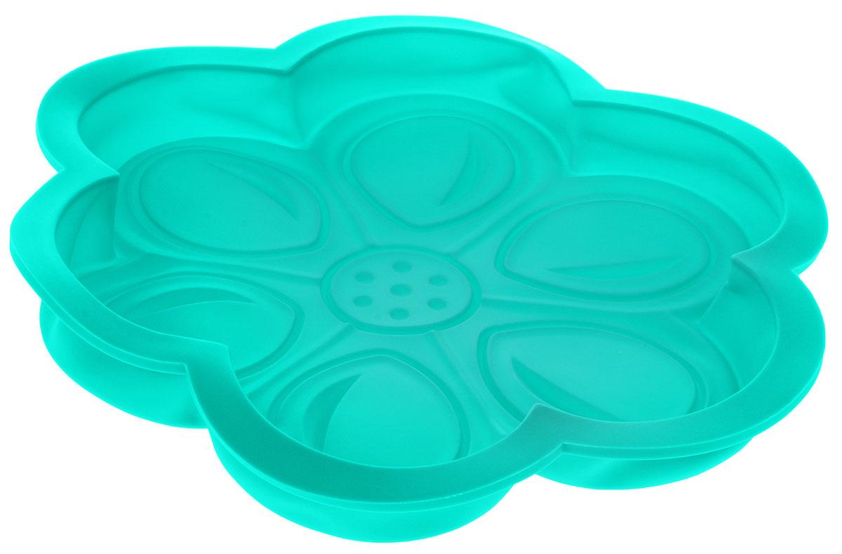 Форма для выпечки Доляна Цветочный мотив, цвет: бирюзовый, 27 х 3 см861075Форма Доляна Цветочный мотив, выполненная из силикона, будет отличным выбором для всех любителей домашней выпечки.Силиконовые формы для выпечки имеют множество преимуществ по сравнению с традиционными металлическими формами и противнями. Нет необходимости смазывать форму маслом. Форма быстро нагревается, равномерно пропекает, не допускает подгорания выпечки с краев или снизу.Вынимать продукты из формы очень легко. Слегка выверните края формы или оттяните в сторону, и ваша выпечка легко выскользнет из формы.Материал устойчив к фруктовым кислотам, не ржавеет, на нем не образуются пятна.Форма может быть использована в духовках и микроволновых печах (выдерживает температуру от -40°С до +250°С), также ее можно помещать в морозильную камеру и холодильник. Можно мыть в посудомоечной машине. Диаметр: 27 см, высота: 3 см.