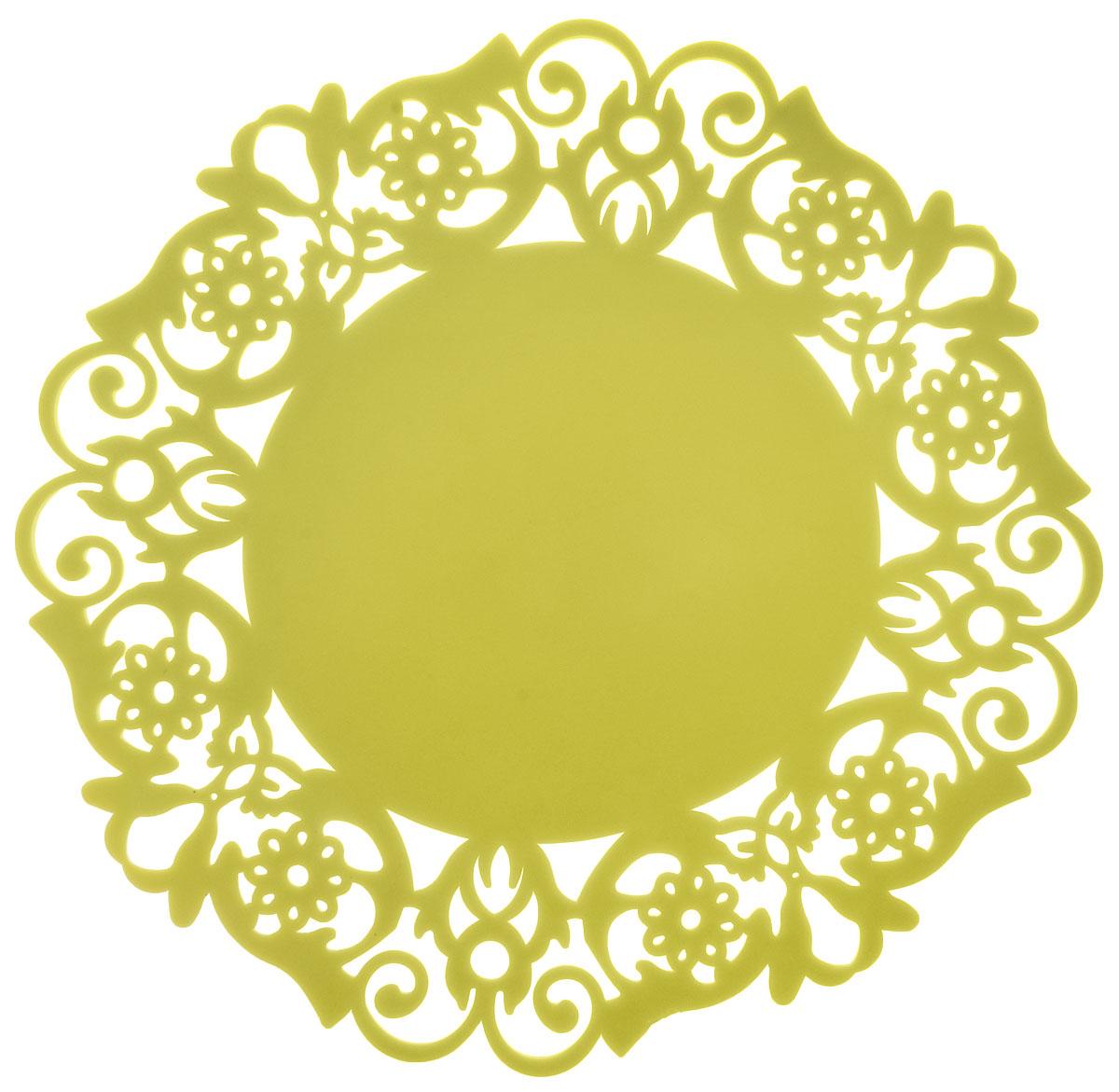 Подставка под горячее Доляна Чаепитие, цвет: лимонный, 20 см812071Силиконовая подставка под горячее Доляна Чаепитие — практичный предмет, который обязательно пригодится в хозяйстве. Изделие поможет сберечь столы, тумбы, скатерти и клеёнки от повреждения нагретыми сковородами, кастрюлями, чайниками и тарелками. Подставка легко моется, не впитывает запахи и не деформируется. Диаметр: 20 см.