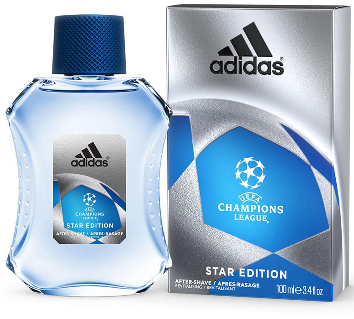 Adidas Лосьон после бритья UEFA II Champions League Star EdItion, 100 мл340005260070/3614221204146Лосьон после бритья Adidas UEFA Champions League Star Edition содержит формулу со специальным комплексом skin protect complex, который защищает кожу, уменьшает раздражение, заряжает энергией. Основные компоненты комплекса: - аллантоин увлажняет и успокаивает кожу, заживляет мелкие порезы; - витамины защищают кожу от антиоксидантов; - минеральные соли заряжают энергией и тонизируют; - спирт обладает антибактериальным действием; - UF фильтры защищают кожу от ультра фиолетовых лучей.