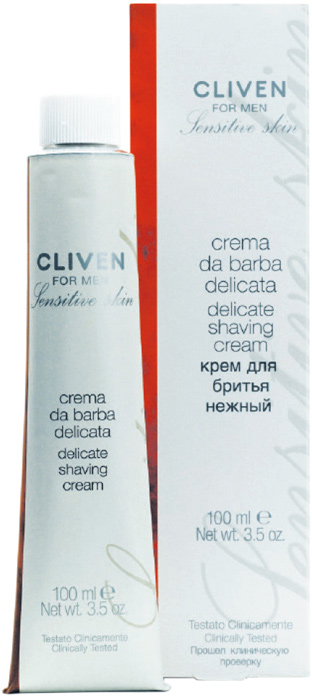 Cliven Крем для бритья нежный 100мл7473Для чувствительной и склонной к раздржениям коже. Образует густую пену, которая смягчает волоски и облегчает бритье. Глицерин и провитамин В5 увлажняют и питают кожу, арахисовое масло питает и смягчает кожу, восстанавливает водный баланс, экстракт алоэ вера предупреждает появление покраснений и раздражений.