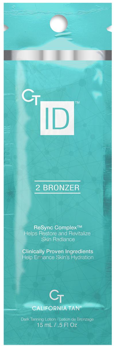 California Tan Крем для загара в солярии CT ID Natural Bronzer Step 2, 15 млCT1190Крем-усилитель загара с натуральными бронзаторами. Отлично подходит для всех типов кожи. Шаг 2. Описание: CT ID™ Bronzer by California Tan® вместе с комплексом Age Erase Complex™, помогают восстановить сияние и энергию кожи. Этот лосьон для загара имеет клинически запатентованные элементы, которые помогают усилить увлажнение кожи для ее необыкновенного сияния. Пусть ваша кожа приобретет темный бронзовый оттенок загара при помощи натуральных бронзаторов, CuCO2® и TRF™.
