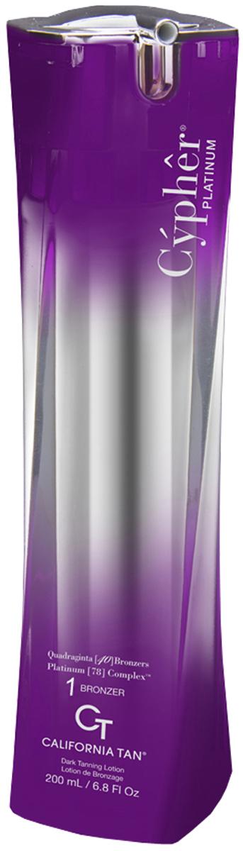 California Tan Крем для загара в солярии Cypher Platinum Bronzer Step 1, 200 млCT0157Лосьон для загара в солярии с ультратемными бронзаторами для светлой кожи. Шаг 1. Активные компоненты: D-Cypher Complex™ - первая технология загара, способная имитировать естественные кожные процессы в процессе загорания для значительного увеличения выработки меланина путем оптимизации в коже протеиновых реакций. При этом ключевые реакции усиливаются, и на каждом этапе загорания раскрывается все больший потенциал кожи для загара. Клеточный Комплекс Cell Speak: борется со старением кожи, подтягивает ее, улучшает микроциркуляцию и обмен веществ в коже и проявляет ее необыкновенное здоровое сияние. Технология In2cell™: соединяет клеточные активы с мощными свойствами антиоксидантов, за счет чего улучшает общий тонус и внешний вид кожи. CuO 2: пептиды меди и кислород – эксклюзивный ингредиент California Tan. Оба элемента стимулируют и содействуют выработке фермента тирозиназа, который непосредственным образом влияет на производство меланина для темного загара Вашей кожи. TRF 2010: улучшенная версия известной технологии California Tan способствуют выработке коллагена, оздоровляет кожу и способствует проявлению ровного загара. Platinum [78] Complex: Научно подобранная смесь ингредиентов, которая обеспечивает роскошный уход за кожей, направленный на борьбу с семью признаками старения: обезвоживание, мелкие и глубокие морщины, тусклый цвет, вялость, потеря эластичности и наполненности. Эта технология обеспечивает удержание влаги в верхних слоях кожи, лечит клетки кожи, восстанавливает барьерные функции и борется с сухостью. Лучшие технологии для увлажнения и регенерации кожи позволяют получить самый темный загар. Преимущества увлажняющей смеси: увлажняющие ингредиенты напитывают эпидермис, разглаживая поверхность кожи, содержит гиалуроновую кислоту. Oxygenation technology: насыщает кожу кислородом, улучшая ее внешний вид. Venti Quingue (25) Bronzers: комплекс натуральных экстрактов, который 