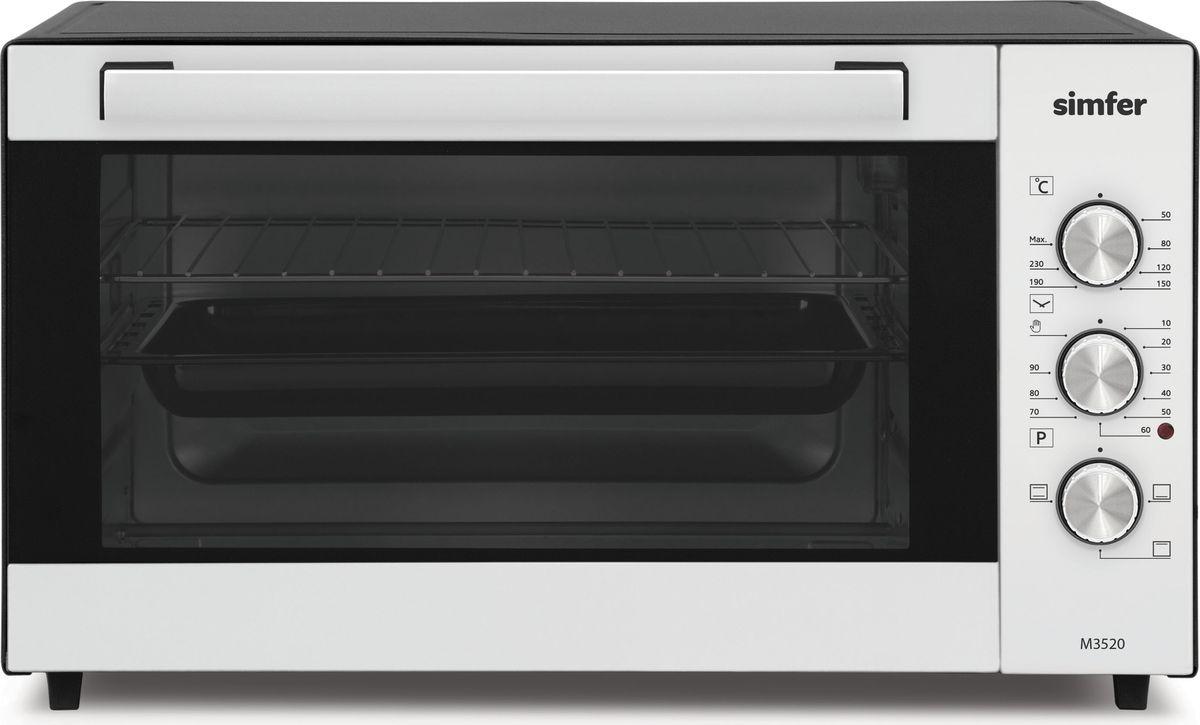 Simfer M 3520 мини-печьM3520Бренд Simfer представляет мини-печь M3520.Мини печь объемом 35 литров недорогая и надежная помощница для дачи, или небольших помещений, где важен каждый сантиметр пространства. Потребляемая мощность прибора 1300 Вт. Печь с 3-мя режимами работы духовки, с регулированием температуры до 240 градусов и механическим таймером позволит качественно и быстро приготовить большинство блюд, будь то пицца или курица.Корпус мини-печи окрашен черной термостойкой эмалью, выдерживающей высокие температуры, а фасад выполнен в белом цвете. Эргономичная ручка дверцы, с внутренней стороны покрыта силиконовой теплоизоляцией, что не позволяют ей нагреваться. Внутренняя поверхность духовки изготовлена из анодированной стали, которая устойчива к механическим повреждениям и коррозии. Три рельефных направляющих дают возможность установить решетку или противень на необходимый уровень, для равномерного запекания блюд. Комплект прибора состоит из прямоугольного противня и решетки. Противень имеет гладкие закругленные края, что исключают возможность порезов. Ножки мини-печи оснащены силиконовыми вставками, которые препятствуют скольжению прибора, и оберегает вашу мебель от царапин.Обращение с мини-печью легко и просто, управление осуществляется с помощью 3-х регуляторов.Верхний переключатель задает выбор температуры приготовления до 240 градусов. Механический таймер позволит выбрать интервал до 90 минут, а нижний регулятор отвечает за режимы духовой камеры. Мини-печь Simfer M3520 это недорогая и компактная альтернатива стационарной плите, которая будет радовать владельца безотказной работой.