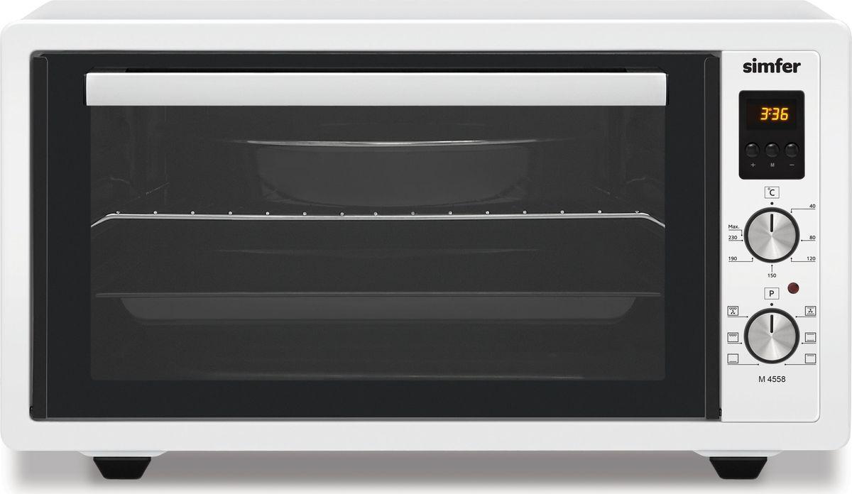 Simfer M 4558 мини-печьM4558Бренд Simfer представляет мини-печь M4558.Мини печь объемом 45 литров позволит владельцу готовить как любимые традиционные блюда, так и кулинарные изюминки, радуя себя и близких. Благодаря компактным размерам, печь можно использовать в абсолютно любом помещении, как в квартире, так и на даче, потребляемая мощность прибора 1400 Вт. Функциональность печи , это 6 режимов приготовления блюд, возможность регулировки температуры до 240 градусов , электронный таймер времени . Все эти возможности сопоставимы с функциями стационарных духовок.Корпус мини-печи окрашен белой термостойкой эмалью, которая выдерживает высокие температуры. Печь гармонично смотрится в любом интерьере. Эргономичная ручка дверцы, с внутренней стороны покрыта силиконовой теплоизоляцией , что не позволяют ей нагреваться, дверца открывается плавно и исключает возможность обжечься во время работы печи. Внутренняя поверхность духовки покрыта эмалью лёгкой очистки, которое устойчиво к механическим повреждениям и коррозии. Двойное стекло дверцы и дополнительная контурная изоляция удерживают тепло в мини печи, экономя электроэнергию и время на разогрев.Три рельефных направляющих дают возможность установить решетку или противень на необходимый уровень для равномерного запекания блюд. В комплект входят два противня, круглый, прямоугольный , а также решетка. Идеальные гладкие закругленные края противней исключают возможность порезов. Ножки мини-печи оснащены силиконовыми вставками, которые препятствуют скольжению прибора и оберегает вашу мебель от царапин.Управление осуществляется с помощью 2-х утапливаемых регуляторов, имеющих рельефную форму.Верхний переключатель задает температуру духовки. Нижний переключатель позволяет выбрать любой из 6-ти режимов приготовления.Электронный таймер с отключением рассчитан на интервал до 90 минут. По окончании времени, печь автоматически отключится и подаст звуковой сигнал. Отпадает необходимость контролировать время приготовления блюд. Мини-печь Si