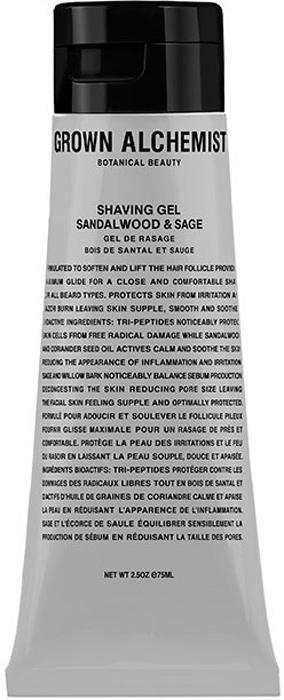 Grown Alchemist Гель для бритья Сандал и шалфей, 75 млGRA0052Нежная текстура геля для бритья прекрасно смягчит волосы и снимет раздражения. Разработано для всех типов кожи лица и тела.Защищает от вредного воздействия свободных радикалов.Успокаивает воспаления и раздражения.Повышает эластичность кожи.Успокаивает и смягчает кожу.