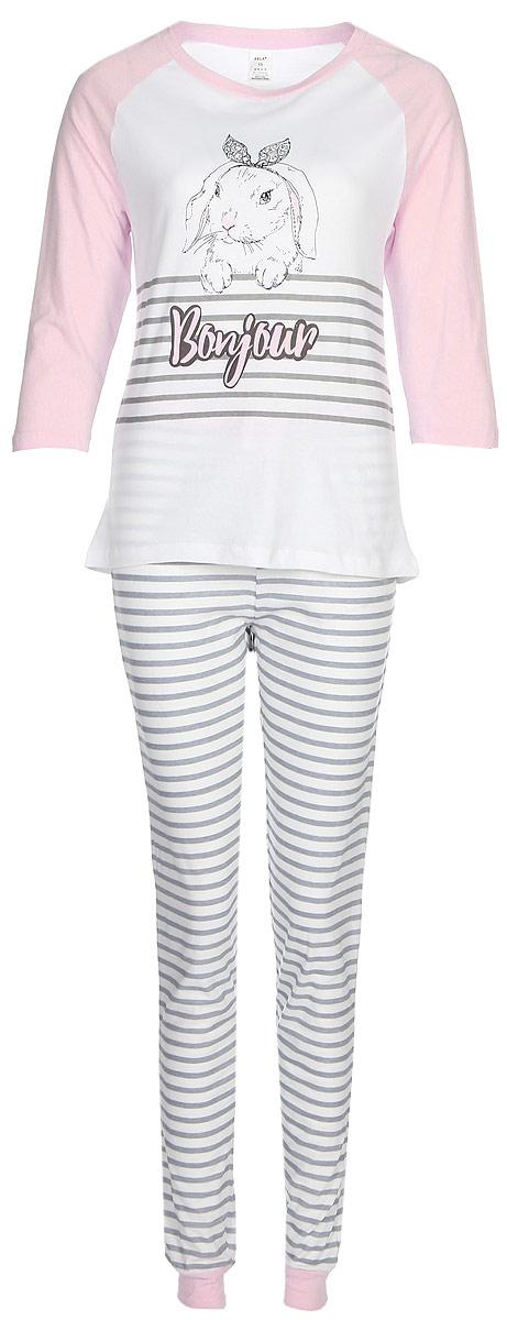 Пижама женская Sela, цвет: розовый, белый. PYb-162/026-7371. Размер L (48)PYb-162/026-7371Женская пижама от Sela, состоящая из лонгслива и брюк, выполнена из натурального хлопка. Футболка с длинными рукавами и круглым вырезом горловины. Брюки на талии дополнены эластичной резинкой и затягивающимся шнурком. По низу брючин имеются трикотажные манжеты.
