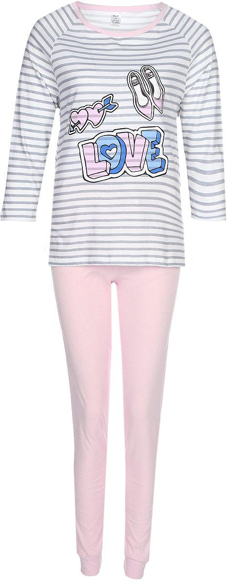 Пижама женская Sela, цвет: розовый, белый, серый. PYb-162/026-7371. Размер S (44)PYb-162/026-7371Женская пижама от Sela, состоящая из лонгслива и брюк, выполнена из натурального хлопка. Футболка с длинными рукавами и круглым вырезом горловины. Брюки на талии дополнены эластичной резинкой и затягивающимся шнурком. По низу брючин имеются трикотажные манжеты.