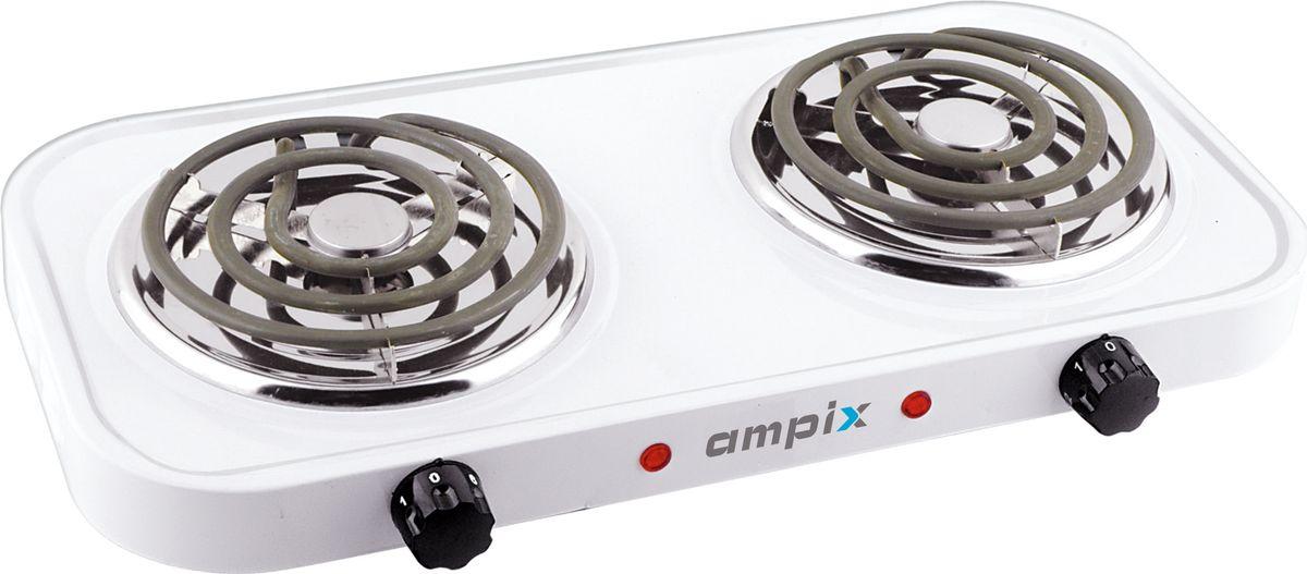 Ampix AMP-8120 настольная плитаAMP-8120Настольная плита Ampix AMP-8120 оснащена двумя конфорками общей мощностью 2000 Вт.Модель прекрасно подойдет для использования в кухнях с небольшими размерами, либо станет отличным помощником на даче.