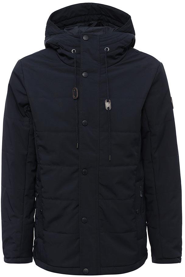 Куртка мужская Sela, цвет: темно-синий. Cp-226/399-7331. Размер L (50)Cp-226/399-7331Мужская куртка от Sela выполнена из плащевки. Модель прямого кроя с длинными рукавами и втачным капюшоном застегивается на молнию и имеет ветрозащитный клапан на кнопках. По бокам модель дополнена втачными карманами.