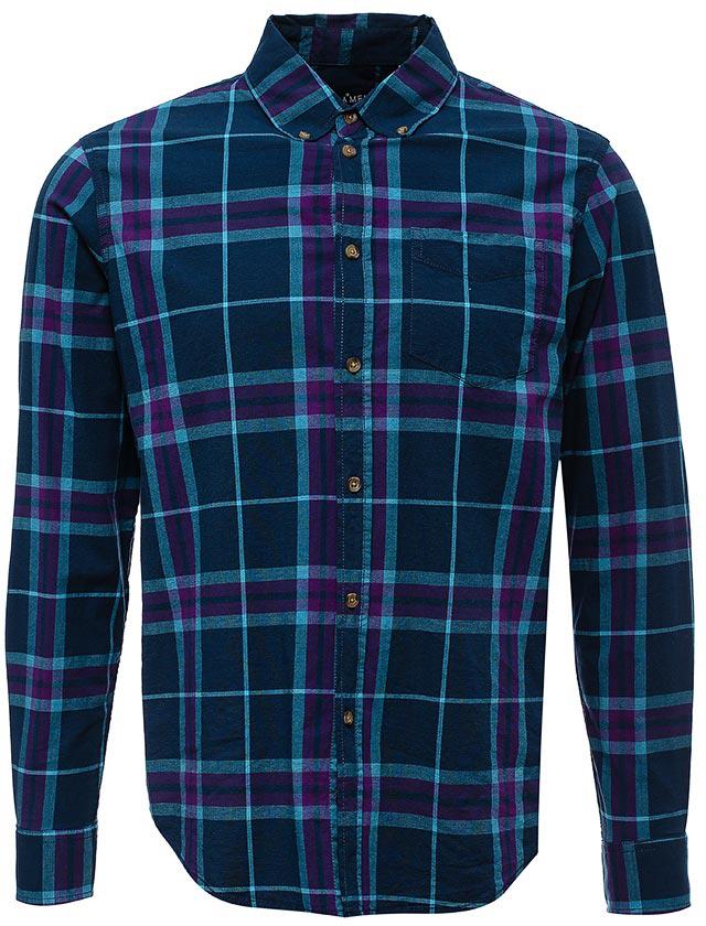 Рубашка мужская Sela, цвет: темно-синий. H-212/024-7423. Размер 41H-212/024-7423Мужская рубашка от Sela выполнена эластичного хлопка. Модель полуприлегающего силуэта с длинными рукавами и отложным воротником застегивается на пуговицы.