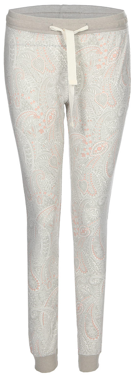 Брюки для дома женские Sela, цвет: серый. PH-165/006-7331. Размер M (46)PH-165/006-7331Женские домашние брюки от Sela выполнены из эластичного хлопково-вискозного трикотажа. Модель на талии дополнена эластичной резинкой и затягивающимся шнурком. По низу брючин имеются широкие трикотажные манжеты.