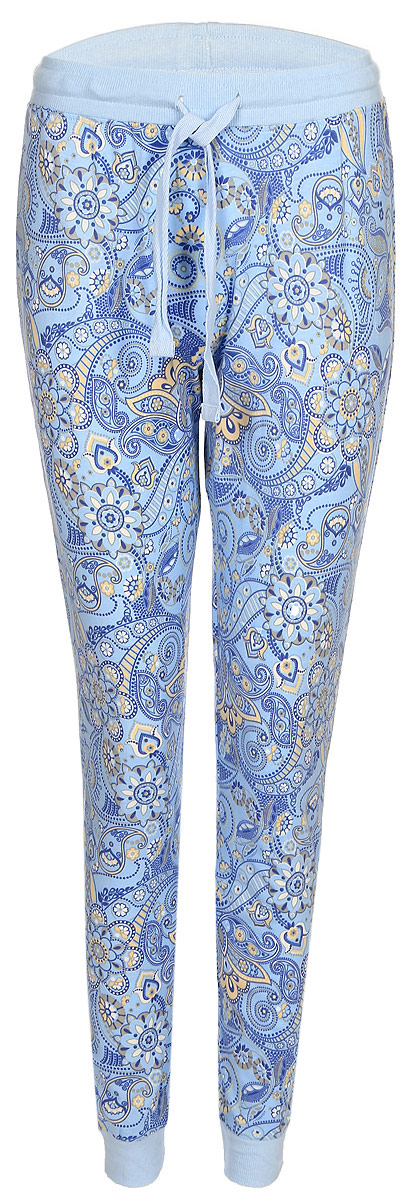 Брюки женские Sela, цвет: голубой. PH-165/006-7331. Размер XL (50)PH-165/006-7331Женские домашние брюки от Sela выполнены из эластичного хлопково-вискозного трикотажа. Модель на талии дополнена эластичной резинкой и затягивающимся шнурком. По низу брючин имеются широкие трикотажные манжеты.