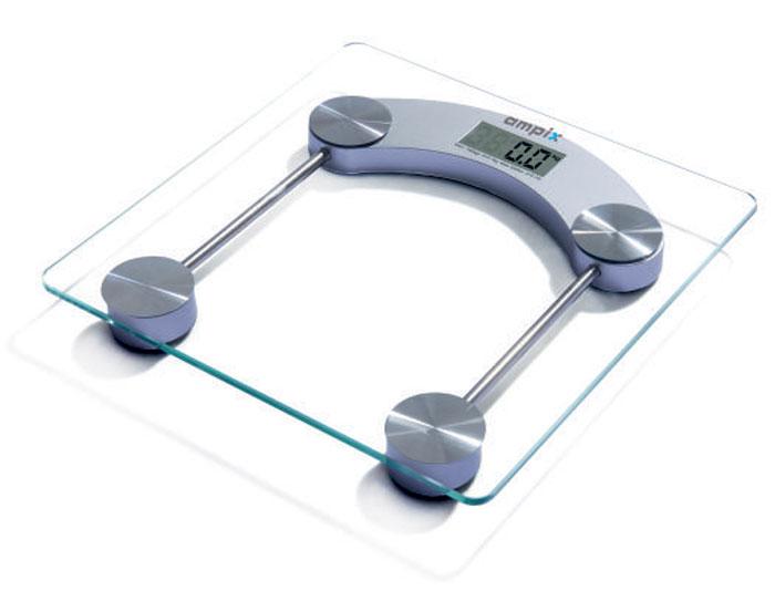 Ampix AMP-7244 весы напольныеAMP-7244Напольные весы Ampix AMP-7244 оснащены платформой из закаленного стекла. Весы - это простой и удобный способ контролировать свой вес. Максимальная нагрузка на данную модель может составлять 180 кг.Весы имеют индикаторы перегрузки и низкого заряда батареи. Чтобы весы начали работать, достаточно просто встать на них. После взвешивания прибор отключится самостоятельно через 8 секунд.Питание: 2 батарейки типа АА (входят в комплект).
