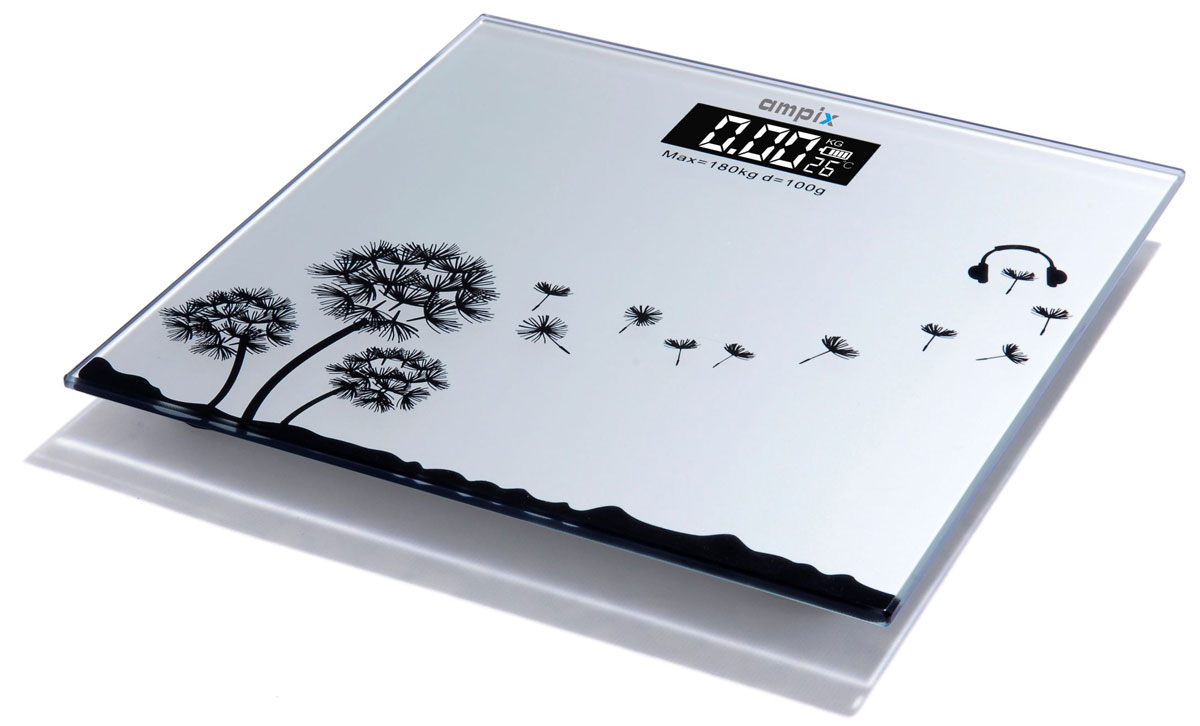 Ampix AMP-7245 весы напольныеAMP-7245Весы напольные электронные. 4-х разрядный ЖК дисплей, Включение путем касания, Автоотключение через 8 сек, Индикация перегрузки, Индикация разрядки батарей, Максимальный вес - 180 кг, Дискретность - 100 г, Элемент питания: литиевая батарейка Cr2032 входит в комплект