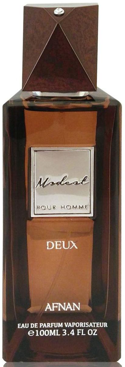 Afnan Modest Pour Homme Deux Парфюмерная вода мужская, 100 мл214192Семейство ароматов: восточно-древесные Сдержаный восточно-древесный аромат Modeste Deux, свежий с мускусным акцентом и пряным шлейфом •Верхние ноты: свежие, ароматические •Ноты сердца: пряные, травяные •Базовые ноты: древесные, мускус