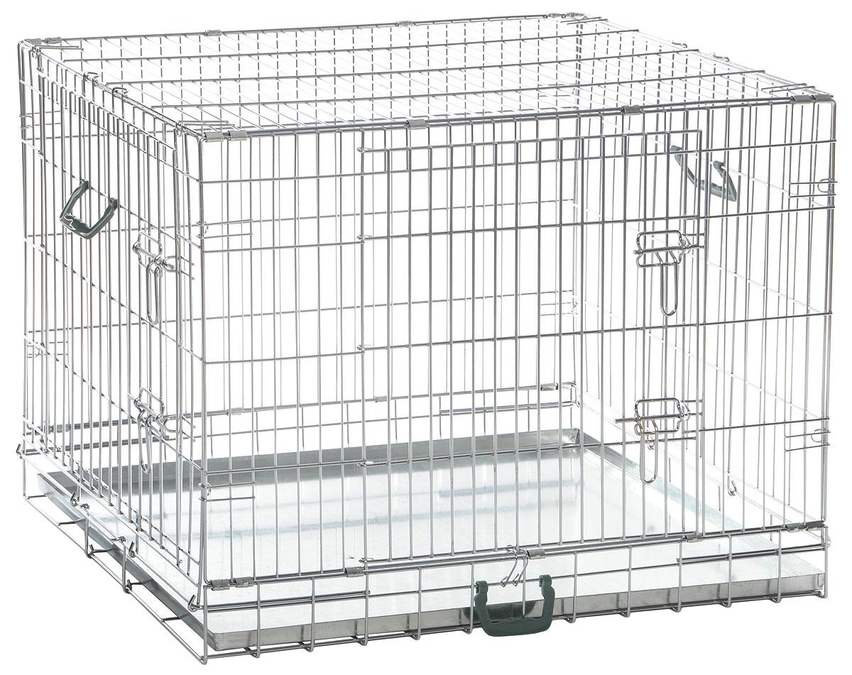 Клетка для собак Imac Box Cane 75, складная, 77 х 50 х 58 см83100Удобная складная клетка для животных Imac Box Cane 75, изготовленная из металла, легко и быстро собирается. Изделие имеет толстые и надежные прутья и несколько дверец, а также удобную ручку для переноски. Клетка снабжена выдвижным поддоном, который прост в уходе. Такая клетка подойдет для транспортировки средних и малых собак.