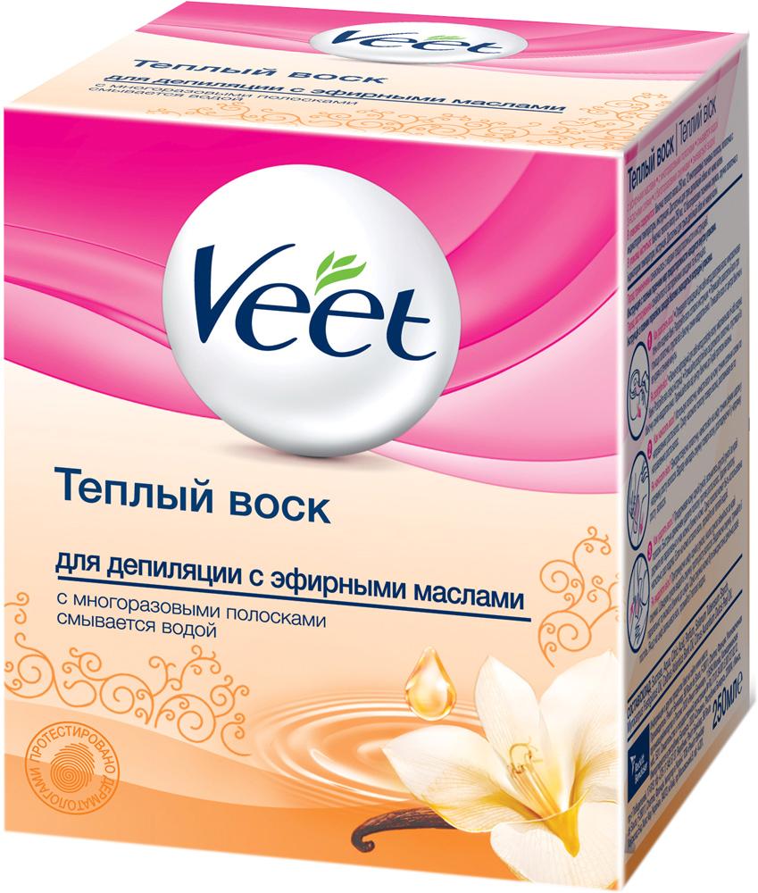 Veet Теплый воск для эпиляции, с эфирными маслами, 250 млBNC 90383Теплый воск Veet для эпиляции содержит эфирные масла. Благодаря формуле, основанной на натуральных ингредиентах, воск удаляет волосы с первого раза и оставляет вашу кожу увлажненной. Ваша кожа нежная и гладкая до 4 недель.Способ применения:Нагрейте воск в течение 40 секунд в микроволновой печи или 10 минут в кипящей воде. Температурный индикатор, на конце лопаточки, сообщит, если воск слишком горячий. Наносите воск при помощи удобной лопаточки подходящей для различных участков тела. Остатки воска смойте водой.В набор входят:баночка с воском, 12 многоразовых тканевых полосок, лопаточка, инструкция по применению. Объем воска: 250 мл. Товар сертифицирован.
