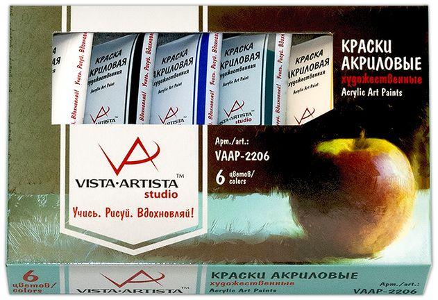 Vista-Artista Краска акриловая Studio 22 млVAAP-2206Художественные акриловые краски Vista-Artista Studio Универсальны и удобны в обращении. Отличаются высокой светостойкостью, водо- и термоустойчивостью, а также плотным сцеплением с поверхностью. Не выгорают на солнце и не тускнеют со временем. Быстро сохнут, обладают хорошей покрывной способностью и прекрасной яркостью цвета. В наборе 6 цветов по 22 мл, имеются цвета: белый, черный, желтый, красный, зеленый и синий.