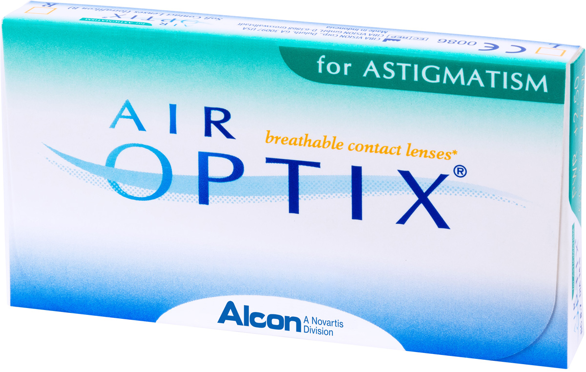 Аlcon контактные линзы Air Optix for Astigmatism 3pk /BC 8.7/DIA14.5/PWR +3.00/CYL -0.75/AXIS 170100045221with Hydraclear