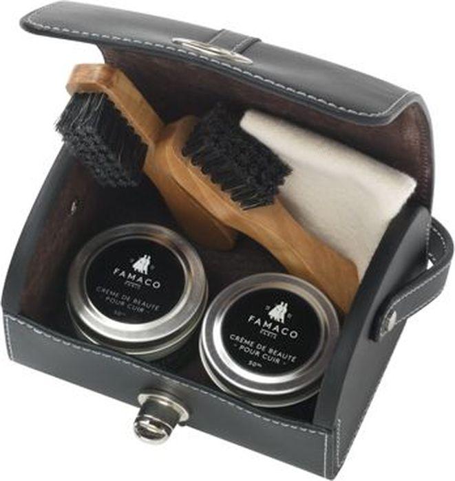 Набор Famaco Diligence, 5 предметов2926Набор Famaco Diligence, 5 предметов: - 1 крем для обуви, Creme de Beaute, черный,- 1 крем для обуви, Creme de Beaute, нейтральный, - 2 щетки-аппликатора с черным ворсом, - 1 ткань для полировки 40x40см.
